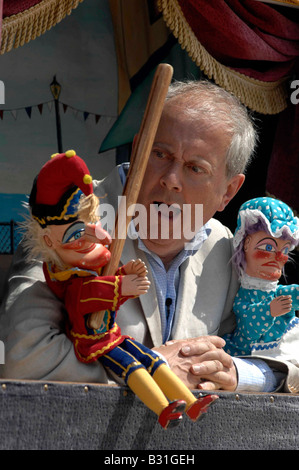 Gyles Brandreth filming for the BBC s One Show in Weymouth Dorset The feature was about British seaside holidays - Stock Photo