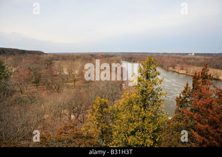 VIEW OF ILLINOIS RIVER FROM STARVED ROCK STATE PARK NEAR UTICA ILLINOIS USA IN EARLY SPRING - Stock Photo
