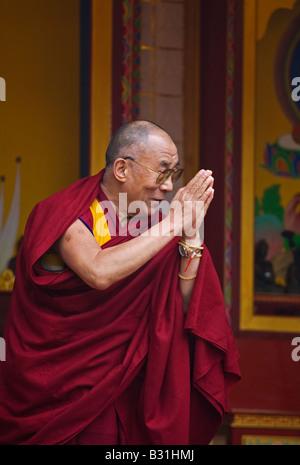 The14th DALAI LAMA of TIBET makes a dedication at KUMBUM CHAMTSE LING BLOOMINGTON INDIANA - Stock Photo