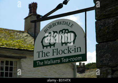 Flock In walkers teasroom sign at Yew Tree Farm Rosthwaite Borrowdale Lake District Cumbria - Stock Photo