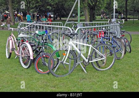 Cycle park at Camden Green Fair London England UK