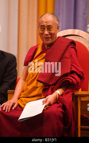 The14th DALAI LAMA of TIBET attends an INTERFAITH PRAYER SERVICE ST PAUL CATHOLIC CENTER BLOOMINGTON INDIANA - Stock Photo