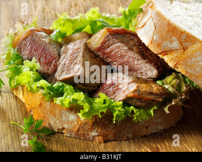 sirloin beef steak sandwich with salad - Stock Photo