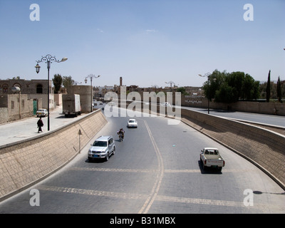 The Saila river with its paved riverbed in Sanaa, Yemen - Stock Photo
