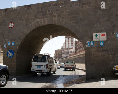 The paved Saila river bed, Sanaa, Yemen - Stock Photo