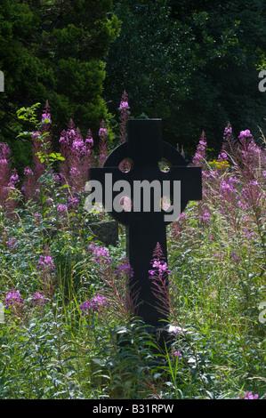 Graveyard with flowering Rosebay Willowherb Epilobium angustifolium Adel Church Leeds West Yorkshire England UK - Stock Photo