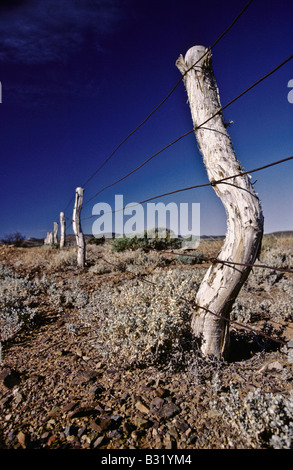 Outback fence post, Australia - Stock Photo