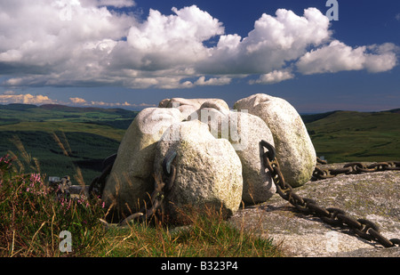 Art artwork Sculpture by artist Matt Baker in the remote atmospheric landscape of the Galloway Hills Scotland UK - Stock Photo