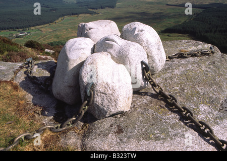 Artist Matt Baker sculpture Hush in the Galloway landscape in Cairnsmore of Fleet nature reserve Scotland UK - Stock Photo