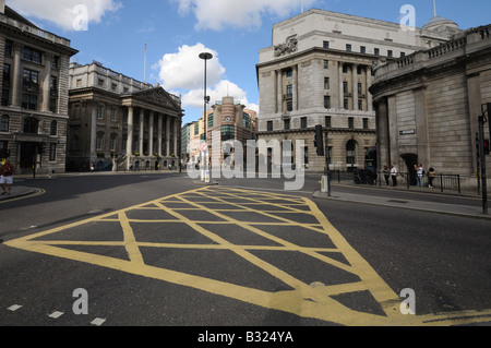 Mansion House and road junction including box junction from Bank of England city of London - Stock Photo