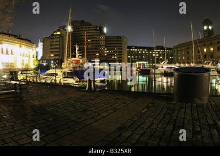 St Katherine's dock London at night - Stock Photo