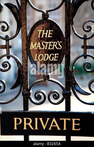 Master Lodge Plaque at Jesus College Cloisters University of Cambridge City Cambridgeshire England Britain UK - Stock Photo