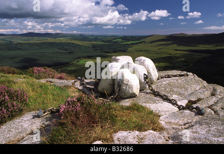 Art artist Matt Bakers sculpture Hush in the landscape on the top of the Clints of Dromore Cairnsmsore of Fleet - Stock Photo