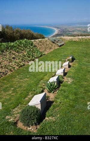 The Nek Cemetery of the Anzac Martyrs overlooking the Aegean sea Gallipoli Canakkale Turkey - Stock Photo
