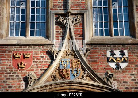 Coat of Arms Jesus College entrance gate University of Cambridge City Cambridgeshire England Britain UK - Stock Photo