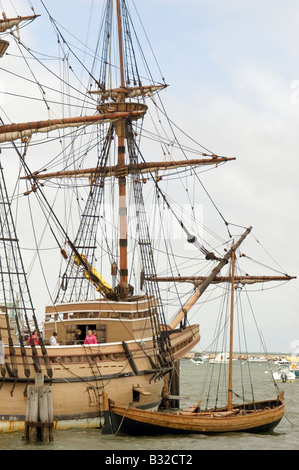 Replica of the Mayflower II in Plymouth Harbor - Stock Photo