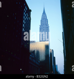 A view of The Chrysler building at dusk in New York City, USA   KATHY DEWITT - Stock Photo