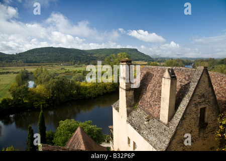Looking out over the Beynac rooftops towards the Dordogne countryside, France, EU. - Stock Photo