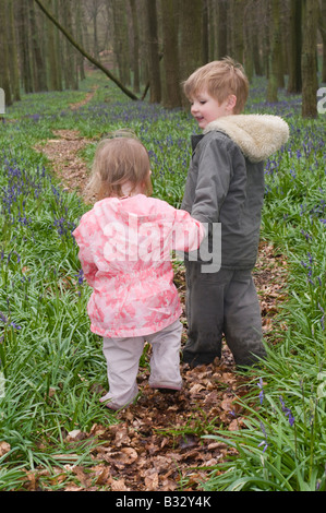 Kids playing in Bluebell Wood Bucks UK April - Stock Photo