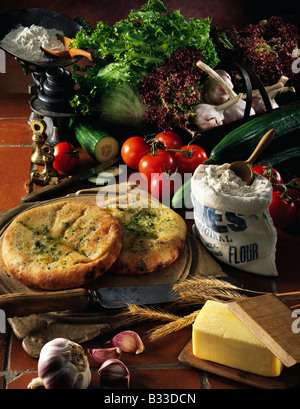 Ingredients in a rustic setting editorial food - Stock Photo