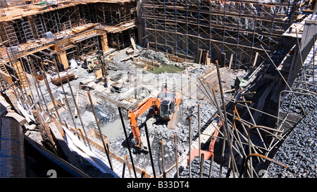 Basement foundation footprint for building construction site in New York City USA - Stock Photo