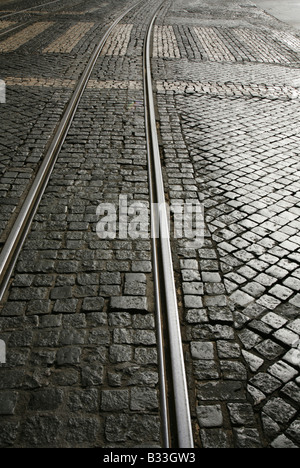 Tramlines at a pedestrian crossing in Lisbon, Portugal. - Stock Photo