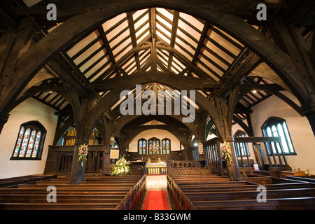 UK Cheshire Knutsford Lower Peover St Oswalds Church interior - Stock Photo