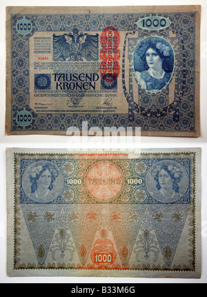This bill is a banknote from Austria - not Germany. 'Kronen' was name of the Austrian currency in the early 20th - Stock Photo