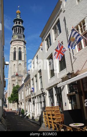 Lange Jan tower in the centre of Middelburg Zeeland Netherlands - Stock Photo