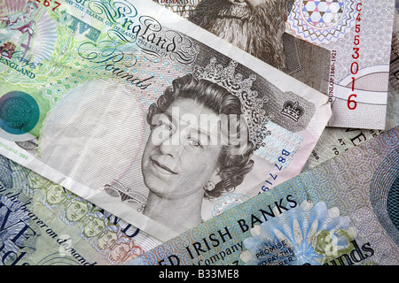Northern Irish Sterling and United Kingdom Bank notes - Stock Photo