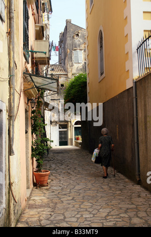 A BACKSTREET IN CORFU TOWN. CORFU GREEK IONIAN ISLAND. - Stock Photo
