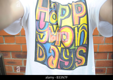 happy mondays tshirt madchester manchester eighties nineties music fashion style wrote for luck central station - Stock Photo