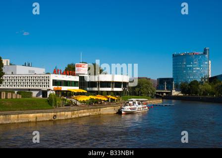 Banks of Emajogi river with modern architecture and Atlantis restaurant complex in Tartu Estonia Europe - Stock Photo