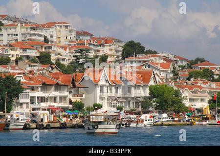 ISTANBUL, TURKEY. Seafront houses on Kinaliada, one of the Princes' Islands in the Sea of Marmara. 2008. - Stock Photo