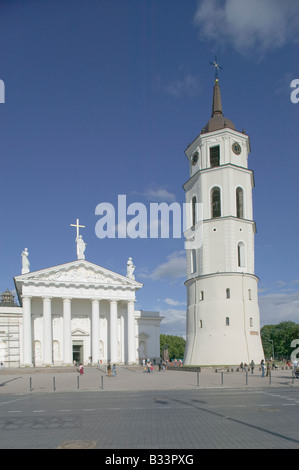 The Cathedral and Belfry in Vilnius Lithuania - Stock Photo