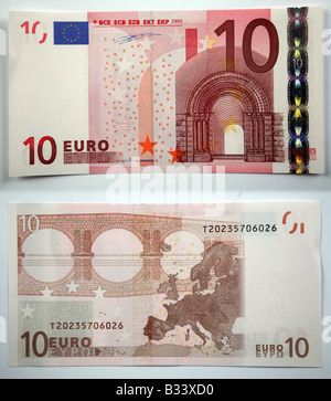 Ten Euro Bank Note accepted in most European countries - Stock Photo