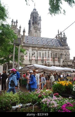 town hall and Market Square Middelburg Zeeland Netherlands - Stock Photo