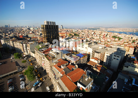 ISTANBUL, TURKEY. A bird's eye view over the Pera district of Beyoglu, with the Bosphorus in the distance. 2008. - Stock Photo