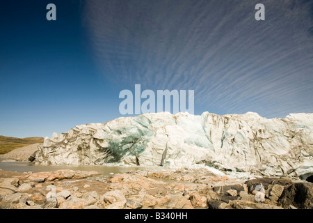 The rapidly melting Russell glacier in Greenland retreating due to climate change - Stock Photo