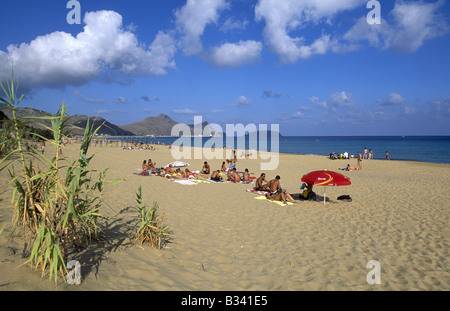 Beach of Porto Santo Island Madeira - Stock Photo