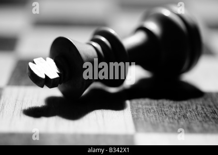 Close-up, detailed images of various chess pieces, queen, king, paws, black and white on a chessboard, resign defeat, - Stock Photo