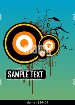 stains on circles with grungy text box - Stock Photo