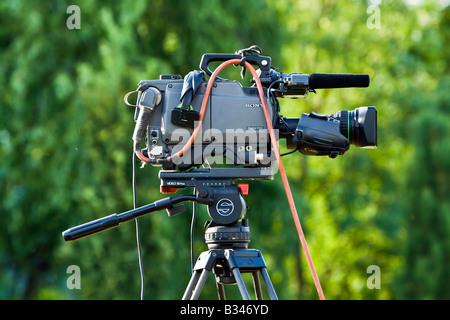 professional tv news camera - Stock Photo