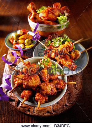Party Food - From Front - mini chicken kebabs,Chicken Yakatori , Marinated chicken drum sticks - Stock Photo