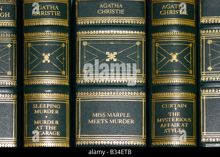 Book Spines of Leather Bound Books, Agatha Christie Stories - Stock Photo
