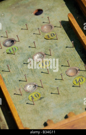 Stock photo of an old Bagatelle playing table The image was taken at a car boot sale in France - Stock Photo