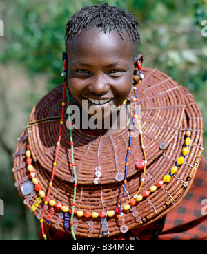 Kenya, Kabarnet District, Tangulbei. A young Pokot girl wears large necklaces made from the stems of sedge grass, - Stock Photo