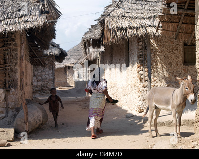 Kenya, Kisingitini, Pate Island. A typical street scene in the fishing village of Kisingitini, a natural harbour - Stock Photo