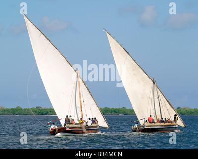Kenya, Coast Province, Lamu Island. Dhows sailing off Lamu Island. Dhow or Dau is the colloquial word used by most - Stock Photo