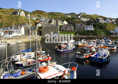 Former fishing village and harbour of Gardenstown on the north coast in Aberdeenshire, Scotland, UK - Stock Photo